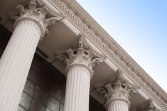 Beautiful columns of the capital on the facade of the historic building Royalty Free Stock Photography