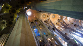 Beautiful columns in La Sagrada Familia, Barcelona, Spain Stock Photos
