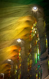 Beautiful columns and stained glass in La Sagrada Familia, Barcelona, Spain. Europe Stock Images