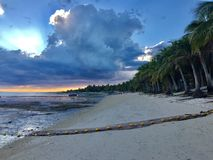 Beachin`. Beautiful combination of sand on the beach, coconut trees, sky and clouds stock photo