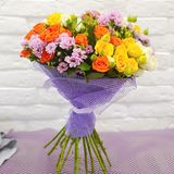 Beautiful combined bouquet of flowers stock photo