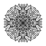 Beautiful complicated mandala to color, inspired by nature, with leaves, black in white background. You can print and color vector illustration