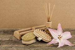 Beautiful composition with aromatic oil, pink lily and massage brushes on wooden background. Weight loss and body care concept stock images