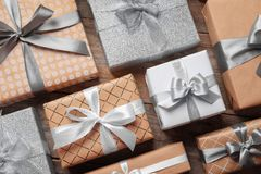 Beautiful composition with Christmas gift boxes stock photos