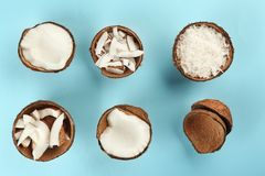 Beautiful composition with coconuts on  background. Beautiful composition with coconuts on color background Stock Image