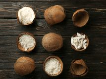 Beautiful composition with coconuts on background. Beautiful composition with coconuts on wooden background Royalty Free Stock Image