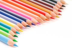 Beautiful composition of colored pencils royalty free stock photos