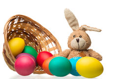 Beautiful Composition Easter Bunny And Colored Eggs On A White Royalty Free Stock Photography