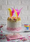 Beautiful composition with Easter layer cake with copy space stock image