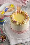 Beautiful composition with Easter layer cake stock photo