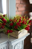 Beautiful composition of flowers. Of red color at the wedding Stock Photo