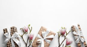 Beautiful composition with gift boxes. On white background Royalty Free Stock Photos