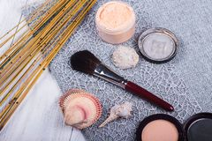 Beautiful composition: professional make-up brushes, equipment and decorative elements stock image