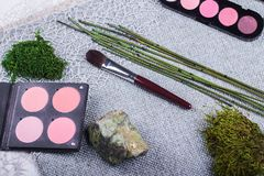 Beautiful composition: professional make-up brushes and tools, decorative elements stock photography