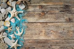Beautiful composition of seashells and stones Royalty Free Stock Photo