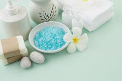 Beautiful composition of spa treatment products setting on light Stock Images