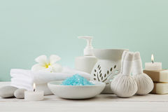 Beautiful composition of spa treatment products setting on light Stock Photography
