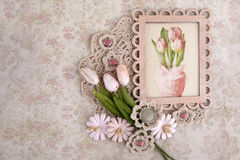 Beautiful composition. In the technique of scrapbooking with a vintage card Royalty Free Stock Photography