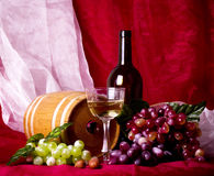 Beautiful composition with wine, grape and barrel Royalty Free Stock Images