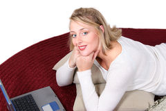 beautiful computer floor laptop woman Стоковые Фото