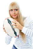 Beautiful concentrated girl with a ball Stock Images