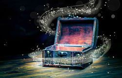 Beautiful concept greeting card of opened vintage chest treasure Royalty Free Stock Image