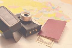 Beautiful concept for summer travel. Map with sunset and accessories for vacation planning. Stock Photography
