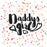 Beautiful confetti poster with quotes lettering daddys girl. Vector Royalty Free Stock Photo