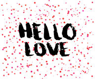 Beautiful confetti poster with quotes lettering hello love. Vector Stock Photo