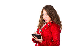 Beautiful confident businesswoman with tablet PC Royalty Free Stock Photos
