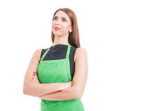 Beautiful confident employee standing with crossed arms Stock Photo