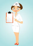 Beautiful confident nurse with clipboard Stock Images