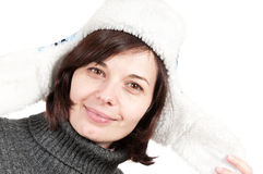 Beautiful confident woman wearing a winter hat Stock Image
