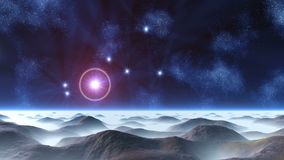 Beautiful Constellation over an Alien Planet. In the dark blue sky of the nebula, and a beautiful constellation. The brightest star in the pink halo. The bright stock illustration