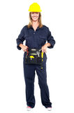 Beautiful construction worker with tool belt Royalty Free Stock Images