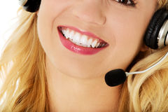 Beautiful consultant of call center in headphones.  Stock Image