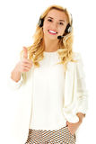 Beautiful consultant of call center in headphones.  Royalty Free Stock Photos