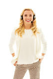 Beautiful consultant of call center in headphones.  Royalty Free Stock Photo