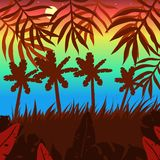Beautiful consumer background with tropical plants and color sky vector image stock illustration