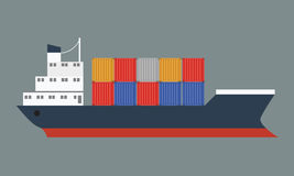 Beautiful container ship with international cargo. Flat Vector. Royalty Free Stock Images