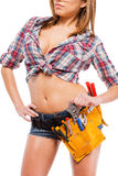Beautiful contractor. Royalty Free Stock Image