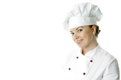 Beautiful cook woman a over white background Stock Image