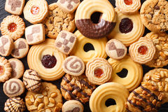 Beautiful cookies assorted close-up. background horizontal top v. Beautiful cookies assorted close-up. background horizontal view from above royalty free stock images