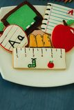 Beautiful cookies with shape of school material Stock Photos