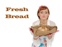 Beautiful Cooking Woman And Chiabatta Bread Royalty Free Stock Images