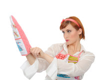 Beautiful cooking woman in apron and kitchen glove Royalty Free Stock Photo