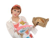 Beautiful cooking woman and homemade bread Royalty Free Stock Image