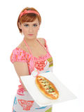 Beautiful cooking woman with italian sandwich Stock Photo