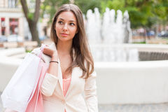 Beautiful cool shopper. Royalty Free Stock Photos