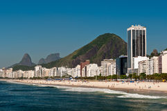 Beautiful Copacabana Beach on a Sunny Day. Panoramic view of Copacabana beach on a Sunny Summer Day in Rio de Janeiro, Brazil stock photo